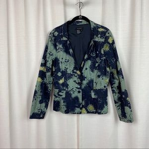 Sandro Blue&Teal Abstract Print One Button Blazer